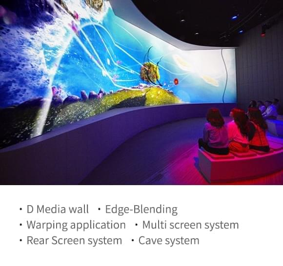 3D Media wall,Edge-Blending,Warping application,Multi screen system,Rear Screen system,Cave system